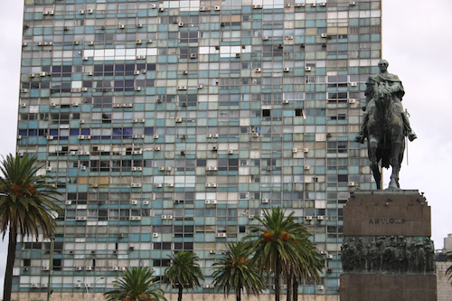 One of Montevideo's few genuinely ugly buildings, which borders the central square. Artegas on his horse quite sensibly looks the other way.