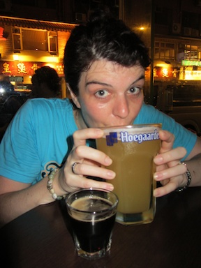 A monster glass of Hoegaarden