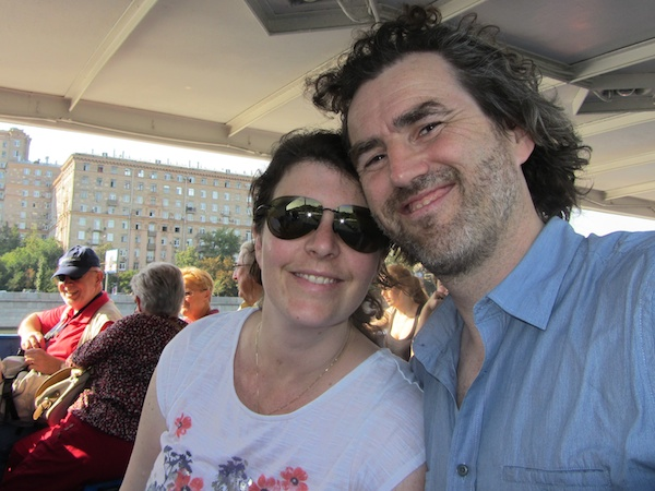 On a tourist boat on the Moscow River