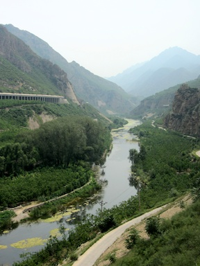The lower reaches of the Yongding River, viewed from the Trans-Manchurian Express