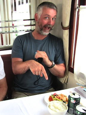 Tony gets very excited about breaking his fast on the Trans-Manchurian Express