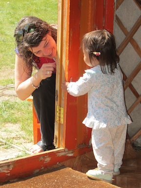 Bronwyn entertains a passing guest in our yurt