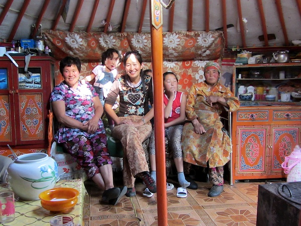 Local family at home in their yurt