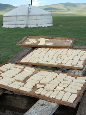 Mare's cheese biscuits drying in the sun
