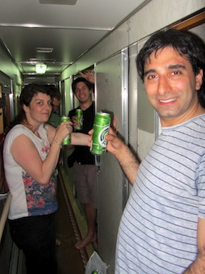Corridor party on the Trans-Siberian Express