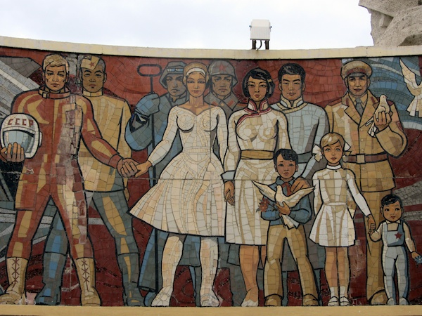 Soviet mosaic on the Zaisan Monument