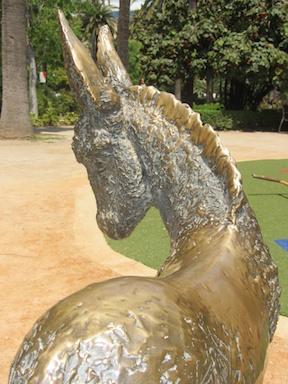 Brass donkey in Malaga Park