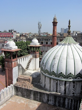 Looking down on an Old Delhi mosque