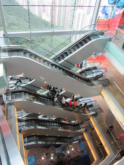 Escalators up to the mall
