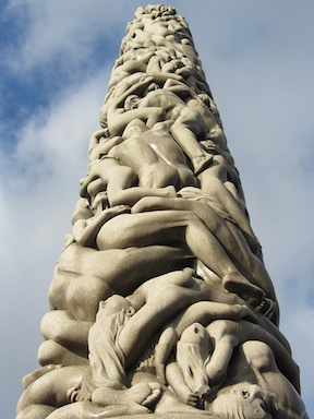 The astounding centrepiece, showing the ages of man, the dead at the bottom supporting the youngest on top.