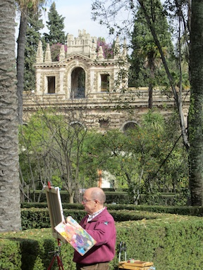 Artist at work in the Alcázar gardens