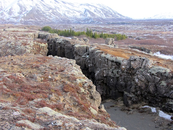 One of the many spreading cracks at þingvellir