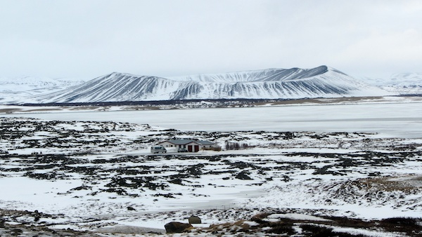 A snow-covered caldera near Myvatn