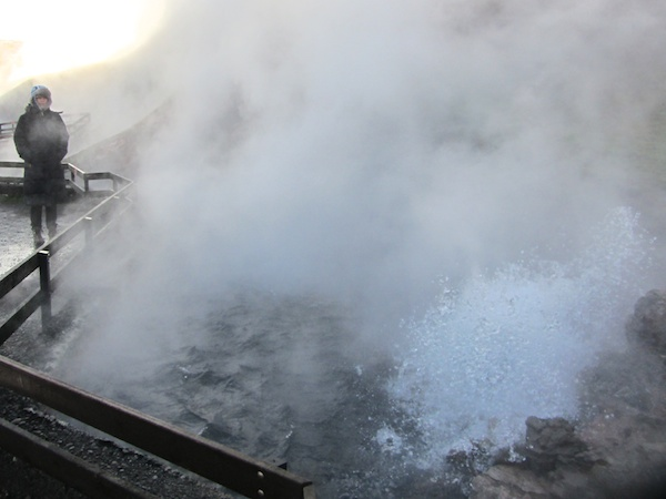 Bronwyn enjoys a steam bath at Deildartunguhver