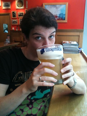 A well-earned vat of Hoegaarden