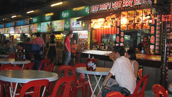 Late-night hawker food stalls at the Red Garden
