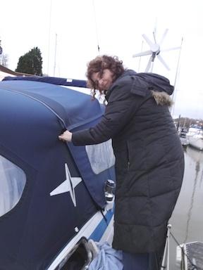Zipping up Elizabeth for winter