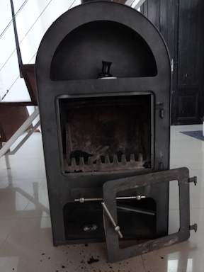 The stove is warped and sooty