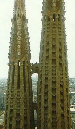 Two of the towers from Gaudi's masterpice, the work-in-progress Sagrada Familia