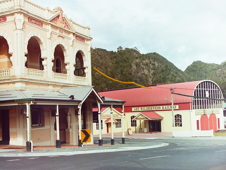 The Imperial Hotel and the ABT train station, Queenstown